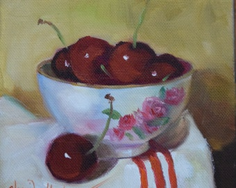 Small Cherry Still Life Painting,Cherries In A Cup With Cup Towel, Original Oil On Canvas Art by Cheri Wollenberg