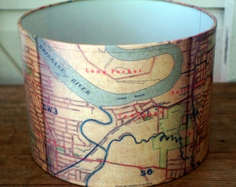 Unique lamp shade inspired by a vintage 1943  map of the Brisbane suburbs
