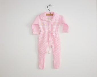 Vintage Pink Knit Baby Sleeper