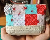 Patchwork, quilted, red and Aqua Mushroom linen pouch