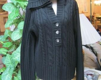 Vintage black hooded sweater, black soft ribbed pullover sweater, size M or L pullover hooded sweater, cabled ribbed hooded black sweater