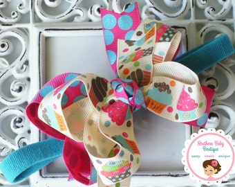 New Item----MINI Boutique Double Layered Hair Bow Headband---Cupcake Sweetie---