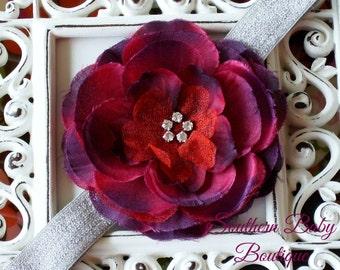 NEW ITEM---Boutique Baby Girl Toddler Soft Stretch Headband Rhinestone Flower---Dark Red and Silver