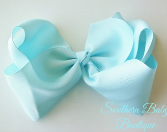 Back to School Sale---School Cheer Bow XX-Large 7 Inch Hair Bow---Ice Blue---Ready to Ship