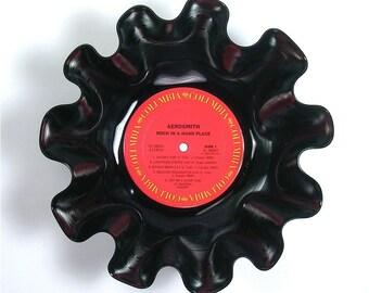 Aerosmith Vinyl Record Bowl Vintage LP Album 1982 (Rock in a Hard Place) Red Label