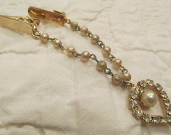 Gorgeous Retro Sweater Clip Guard with Rhinestones and faux pearls SALE