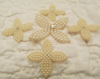 Vintage Faux Pearl Cabochon Flowers lot of 5