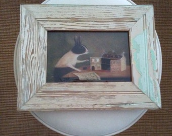 Reclaimed Lumber Frame with Rabbit Print