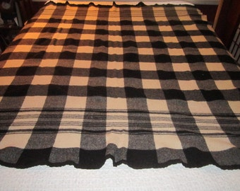 Vintage 1940s/50s Black and Off White Plaid Striped Camp Blanket