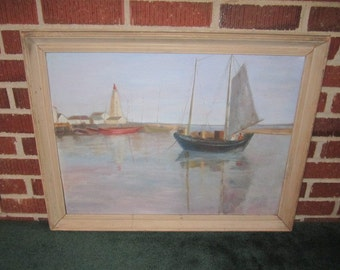 Vintage 1930s/40s Lovely Original Signed Oil Painting of Coastal Scene with Lighthouse and Boats
