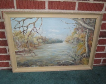 Vintage 1940s Signed Plein Air Landscape Oil Painting of Tranquil Riverbank