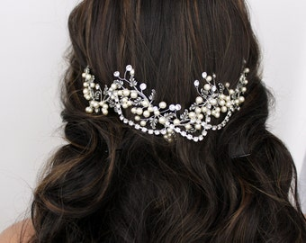 Bridal hair vine, Wedding headpiece, Antique silver hair piece, Leaf hair accessory, Swarovski crystal hair vine, Boho head piece, Rose gold