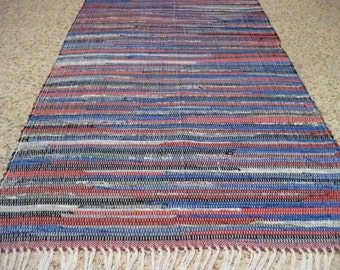 Handwoven Blue and Red Rag Rug 25 x 59