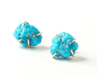 Turquoise Stud Earrings, 14k Gold, Blue Stone Earrings, Turquoise Jewelry, Simple Earrings