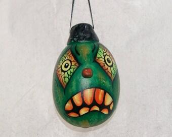 Halloween Gourd Ornament, Haunted Halloween Ghoul, Egg  Gourd Folk Art Ornament (234)