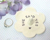 Engagement Ring Dish, She Said Yes, Wedding Ring Holder, Jewelry Storage, Gift for Her, Anita Pottery