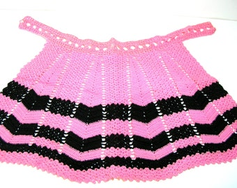 Vintage Crocheted Apron, Pink And Black Chevron Design, Hostess Apron