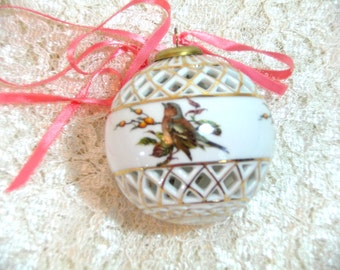 Vintage Porcelain Bird Ornament, Christmas Ornament