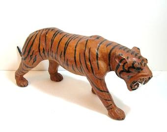 Leather Tiger Sculpture, Large Leather Tiger, Hand Painted Vintage Tiger