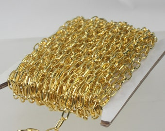 32 ft. of Gold Plated Drawn Cable Chain - 9x4.5mm Unsoldered Link