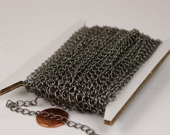 32 ft Gunmetal Solder Curb Chain LARGE EXTENDER Chain - 5.9x4.6mm
