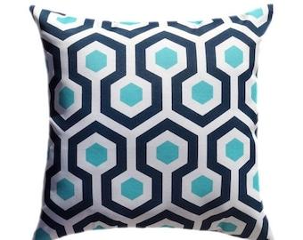 Blue Outdoor STUFFED Pillow, Navy Blue Outdoor Pillow, Aqua Accent Pillow, Aqua Pillows, Navy Geometric Pillow, Magna Oxford Porch Pillow