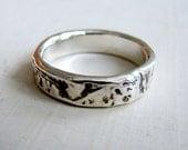 Custom White Gold Birch Bark Ring