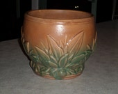 McCoy Pottery antique stoneware leaves & berries jardiniere flower pot blended brown and green