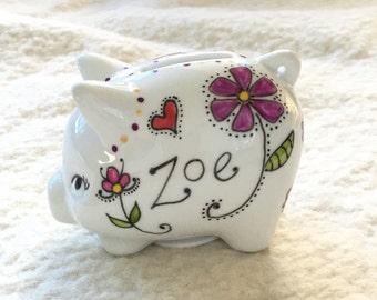 Custom personalized tiny porcelain piggy bank