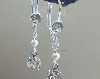 Beautiful set Swarovski crystals,Rhinestone silver plated set dangles~~Bridal,Bridesmade