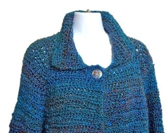 Women Blue Sweater, Crochet Jacket, Blue jacket