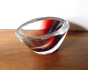 Modernist KOSTA Sweden Red Cased in Clear Art Glass Bowl, Vicke Lindstrand, Small / Diminutive / Miniature / 2 in. Tall