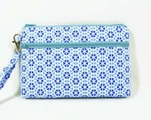 Blue iPhone 6 purse, cosmetic bag, wristlet , wallet, cell phone holder, makeup pouch