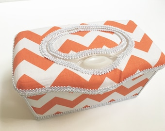 Boutique Flip Top Baby Wipe Tub - Orange Chevron Covered Nursery Wipes Box