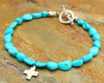 Sleeping Beauty Turquoise Sterling Silver Bracelet - Las Cruces
