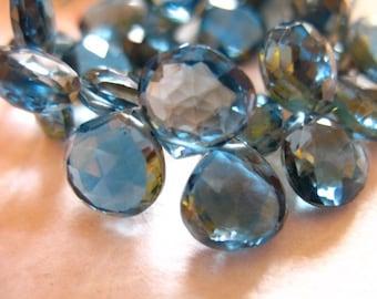 Shop Sale.. LONDON BLUE Topaz Heart Briolettes, Luxe AAA, 9-9.5 mm, Teal Blue, december birthstone not so blue solo