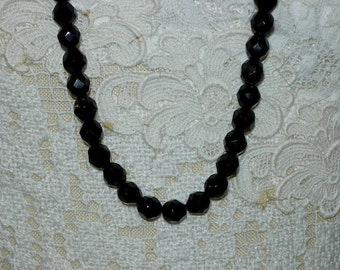 Vintage Black Glass Bead 36 Inch Necklace