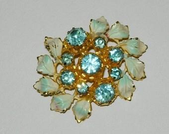 Vintage Blue Enamel and Rhinestone Brooch or Pin
