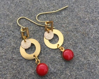 Gold And Red Earrings With Red Enameled Dangling Charm, Geometric Earrings With Gold Squares And Circles, Red Enamel Earrings