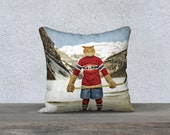 """Montreal Canadiens Cat Pillow Pillowcase Habs Hockey NHL Pillow Cover Decorative Pillows 18x18 or 22x22 Pillow Case - Montreal """"Cat""""adiens"""