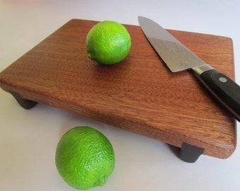 Large Reclaimed Warm Beautiful Sapele Raised THICK Cutting Board
