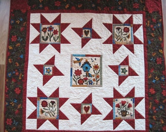Quilted wall hanging  throw  lap quilt wheelchair sofa quilt Quiltsy handmade