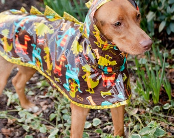 Dinosaur: Dog Raincoat, Waterproof Dog Coat, Dog Raincoat with Hood, Raincoats for Dogs