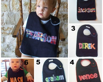 Personalized Toddler Denim Bibs for Boys with Applique name in the colors of your choice by Tried and True Designs on Etsy