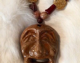 Stone Face Pendent on Beaded Stone Necklace
