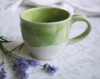Coffee Mug with Dripping Spring Green over White Glazes Handcrafted Stoneware 12 oz. Pottery Coffee Cup Made in USA