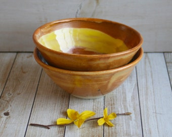 Pair of Gold Shino Bowls Handcrafted with Stoneware Clay Ready to Ship Made in USA - SALE