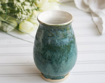 Handmade Vase in Textured Green Glaze Handcrafted Flower Vase Ready to Ship Made in USA