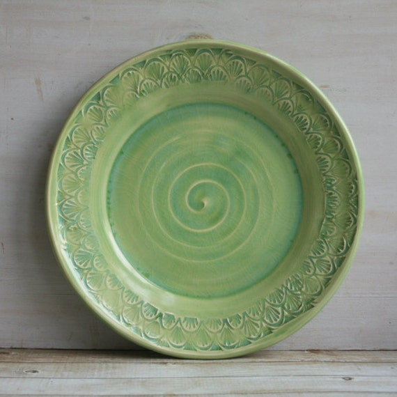 Spring Green Dinner Plate Handmade Pottery By Andoverpottery