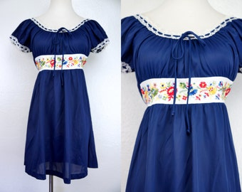 1960s Blue Babydoll Mini Dress Nightie Embroidered Cap Sleeves Peasant Neck White Lace Gaymode